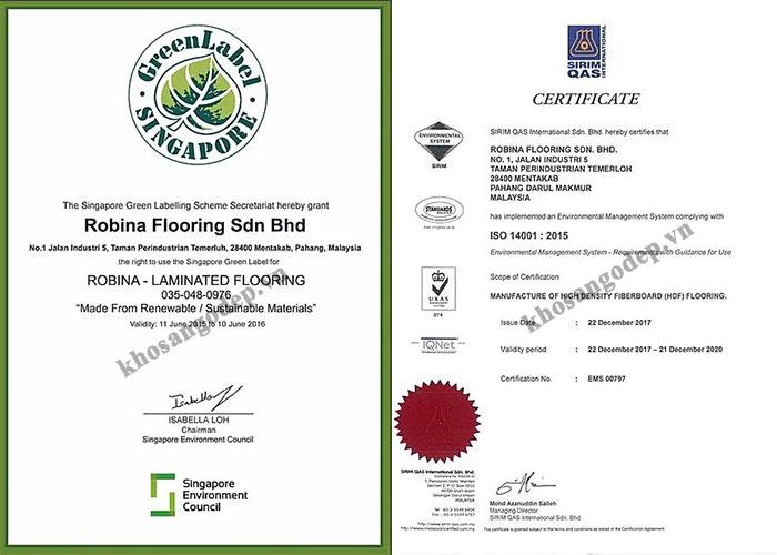 Chứng chỉ E1, thân thiện với môi trường sàn gỗ Robina