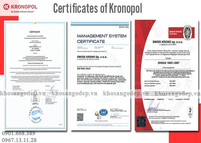 Chứng chỉ sàn gỗ công nghiệp Kronopol