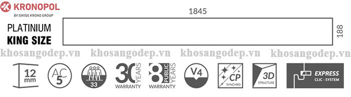 Kích thước sàn gỗ công nghiệp Kronopol King Size