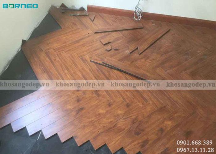 Thi công sàn gỗ xương cá Borneo
