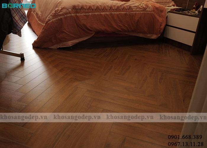 Thực tế sàn gỗ xương cá Borneo BN19703