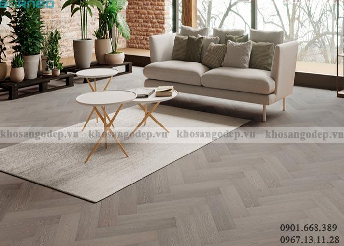 Sàn gỗ xương cá màu ghi