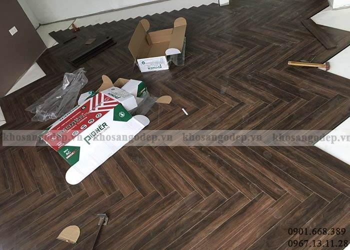 Thi công sàn gỗ xương cá Pioner tại Hà Nội