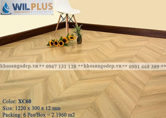 Sàn gỗ wilplus xương cá 3D XC60 tại Hà Nội