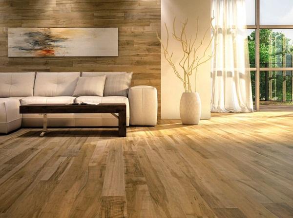 Sàn gỗ màu vàng sáng giúp không gian thêm thoáng đãng, ấm cúng