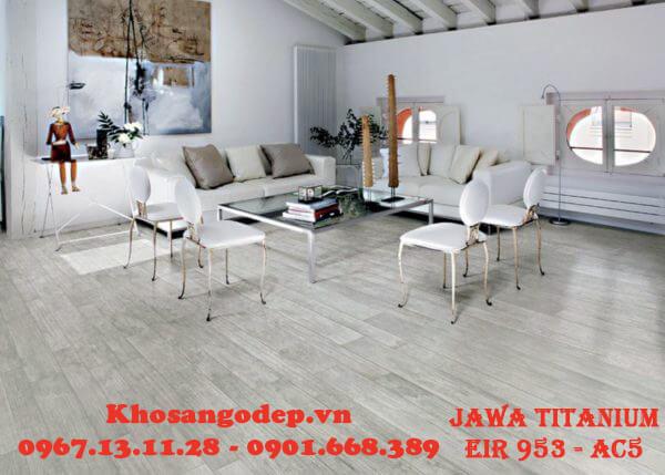 Sàn gỗ Jawa Titanium được lắp đặt hoàn thiện mang vẻ đẹp sang trọng