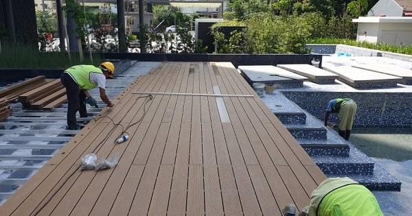 Thi công sàn gỗ nhựa ngoài trời, sàn gỗ nhựa ban công
