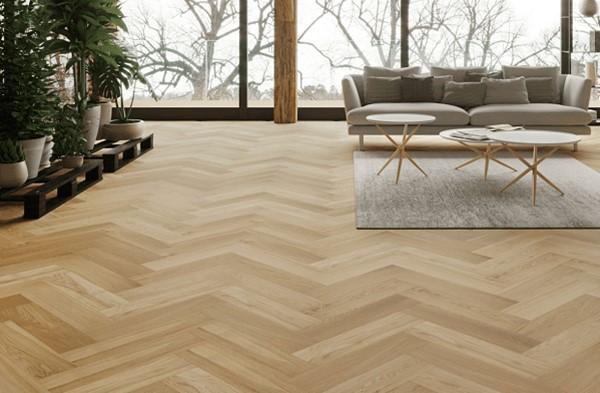 Sàn gỗ xương cá hoàn thiện mang lại sự sang trọng cho căn phòng