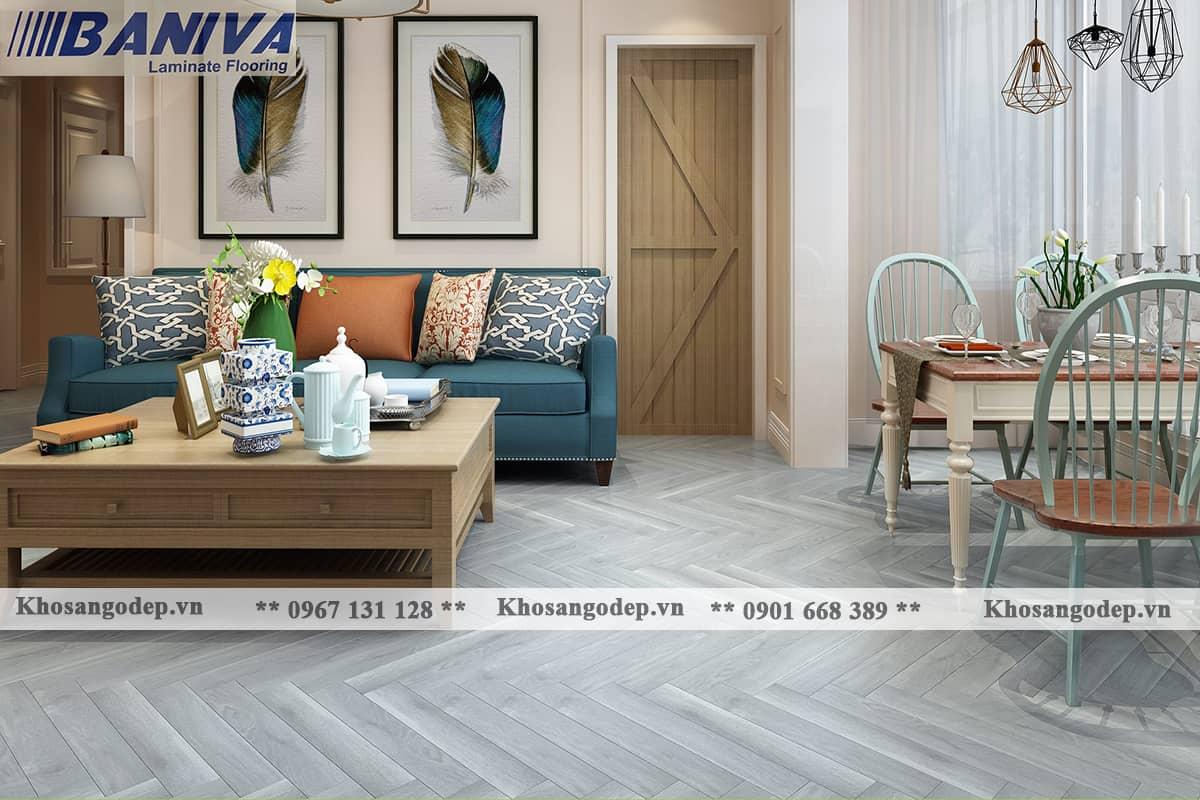Sàn gỗ công nghiệp xương cá Baniva