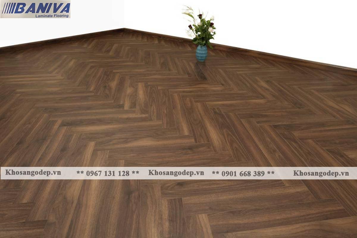 Sàn gỗ xương cá Baniva S318 tại Hà Nội