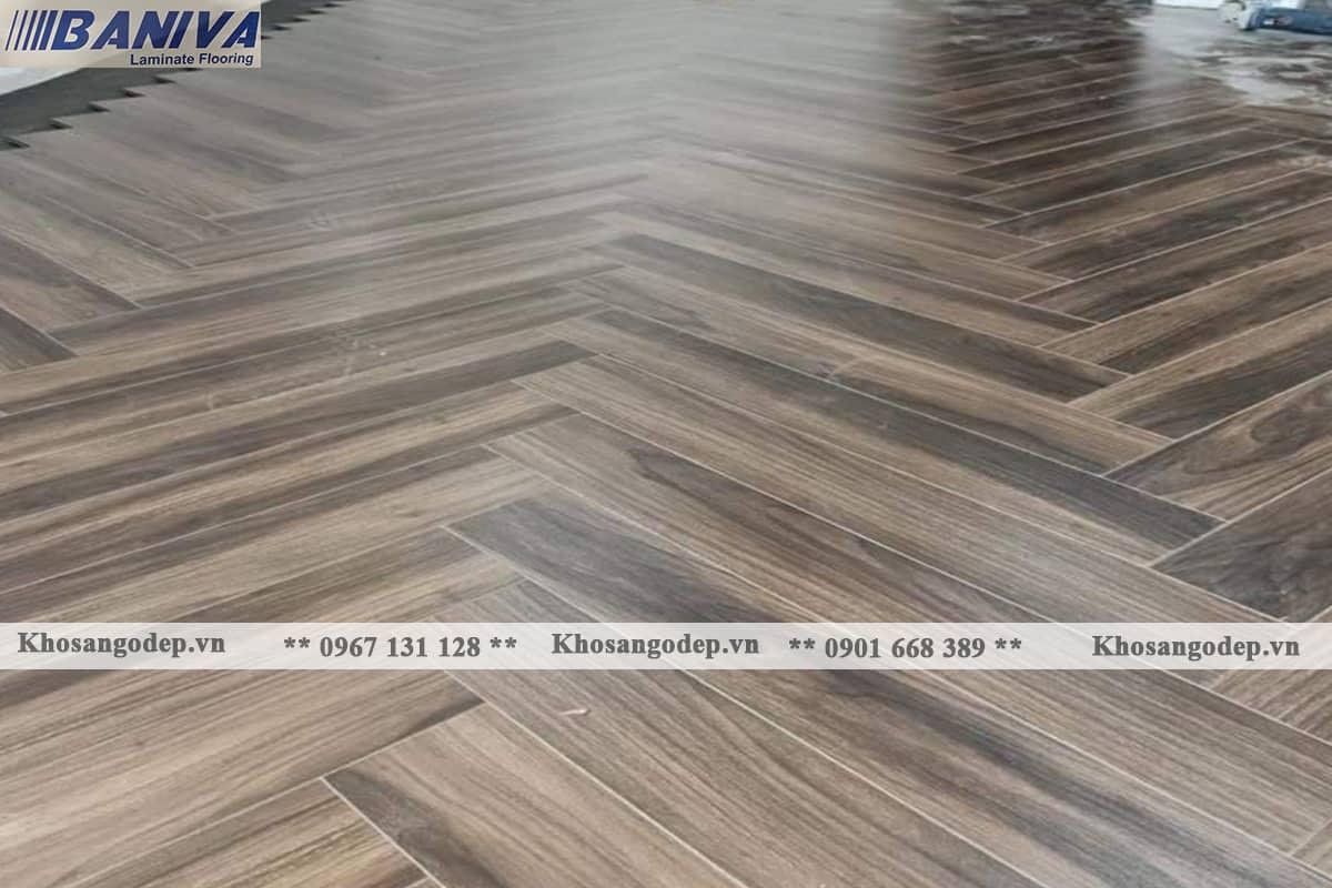 Thi công sàn gỗ xương cá Baniva S336