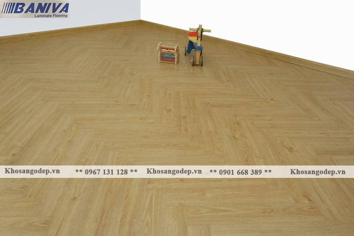 Sàn gỗ xương cá Biniva S380 tại Hà Nội