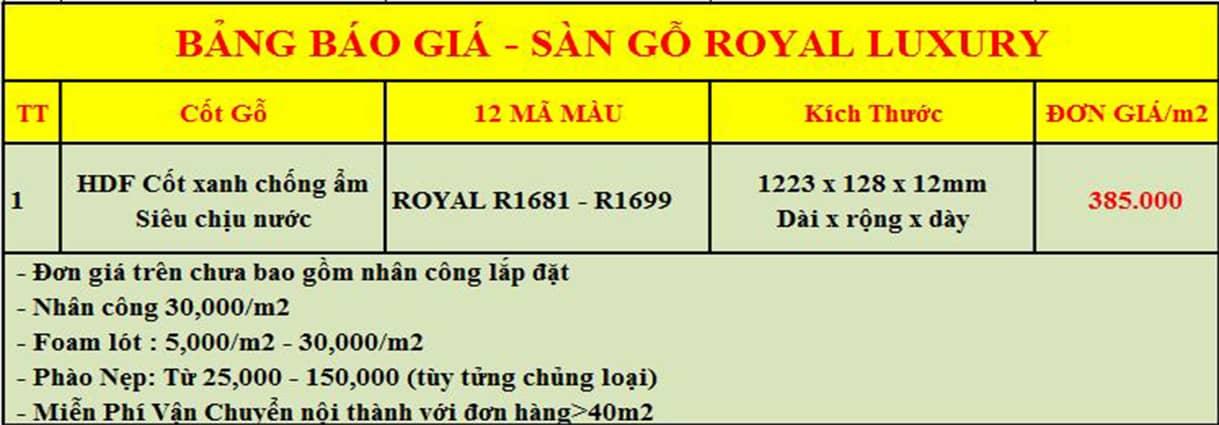 Báo Giá sàn gỗ Royal
