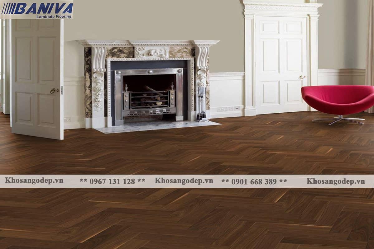 Sàn gỗ xương cá Baniva S318