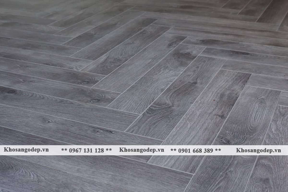 Sàn gỗ xương cá màu xám