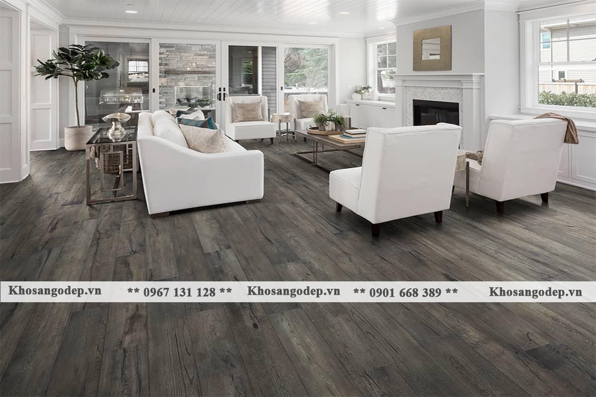 kết hợp sàn gỗ màu xám với tường trắng