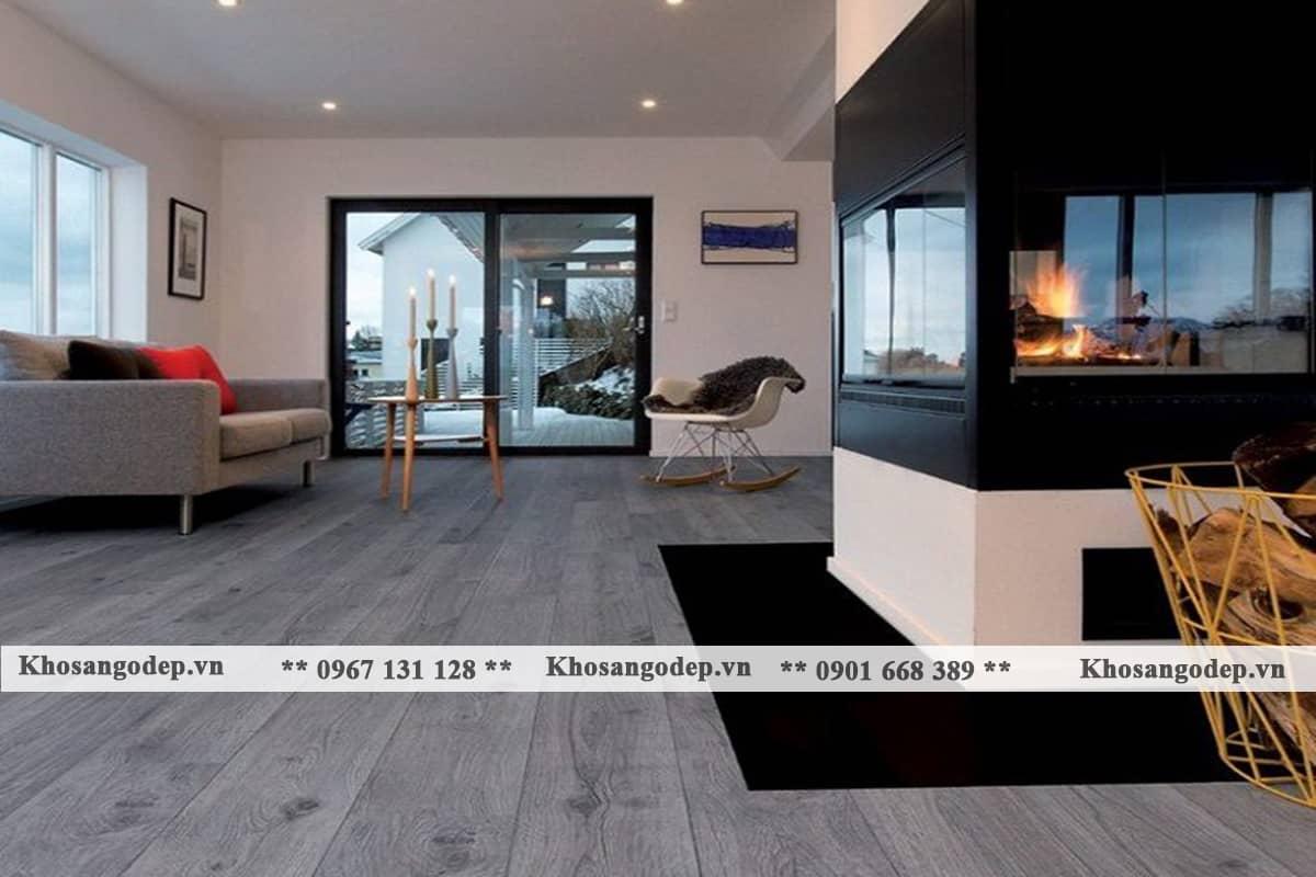 kết hợp sàn gỗ màu xám với nội thất