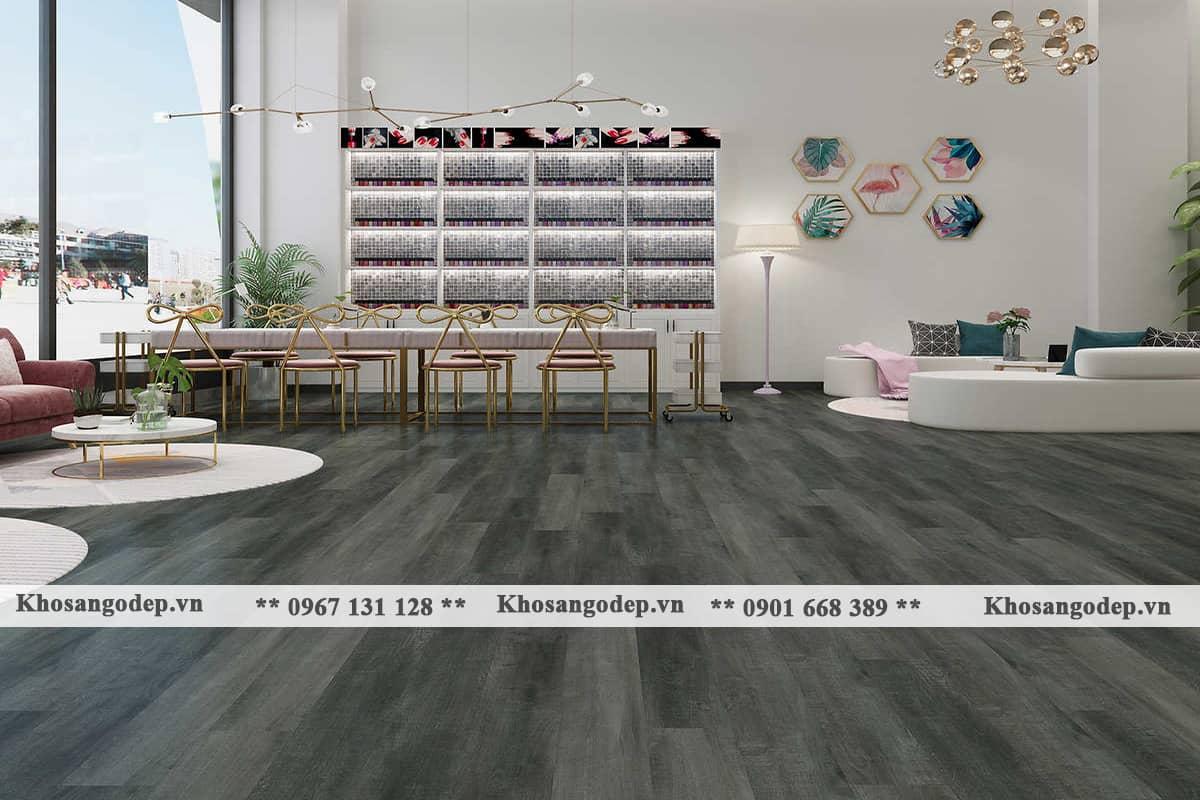 kết hợp sàn gỗ màu xám với khối hình học