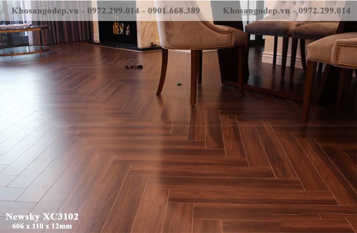 sàn gỗ xương cá Newsky 12mm