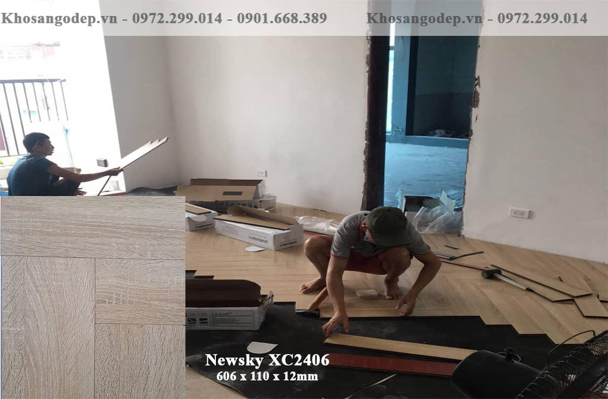 Thi công sàn gỗ xương cá Newsky
